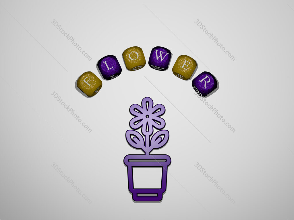 flower icon surrounded by the text of individual letters