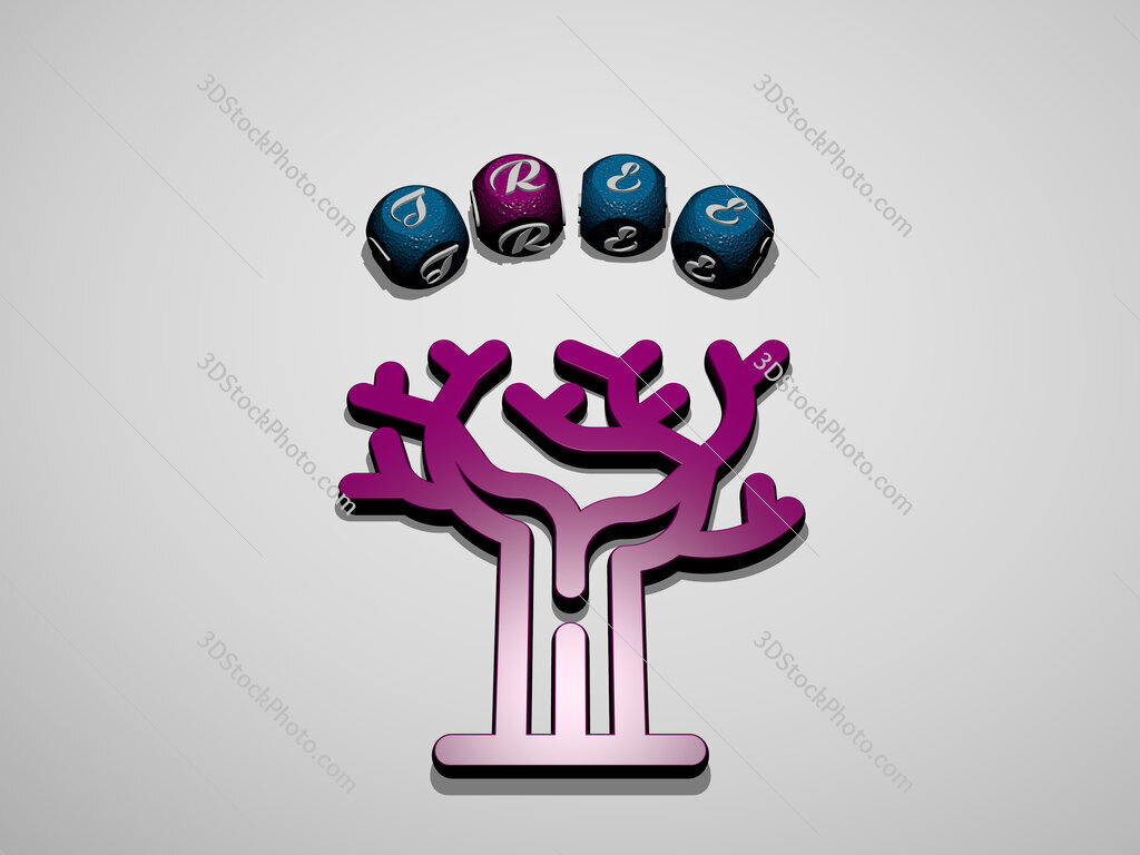 tree icon surrounded by the text of individual letters