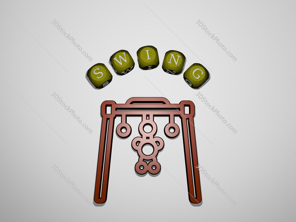 swing icon surrounded by the text of individual letters