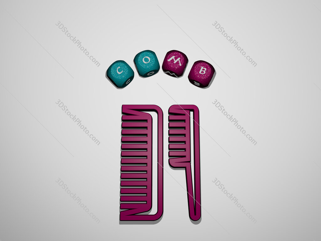 comb icon surrounded by the text of individual letters