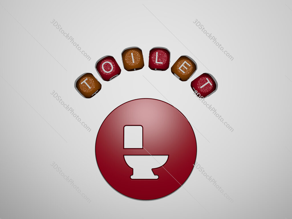 toilet icon surrounded by the text of individual letters