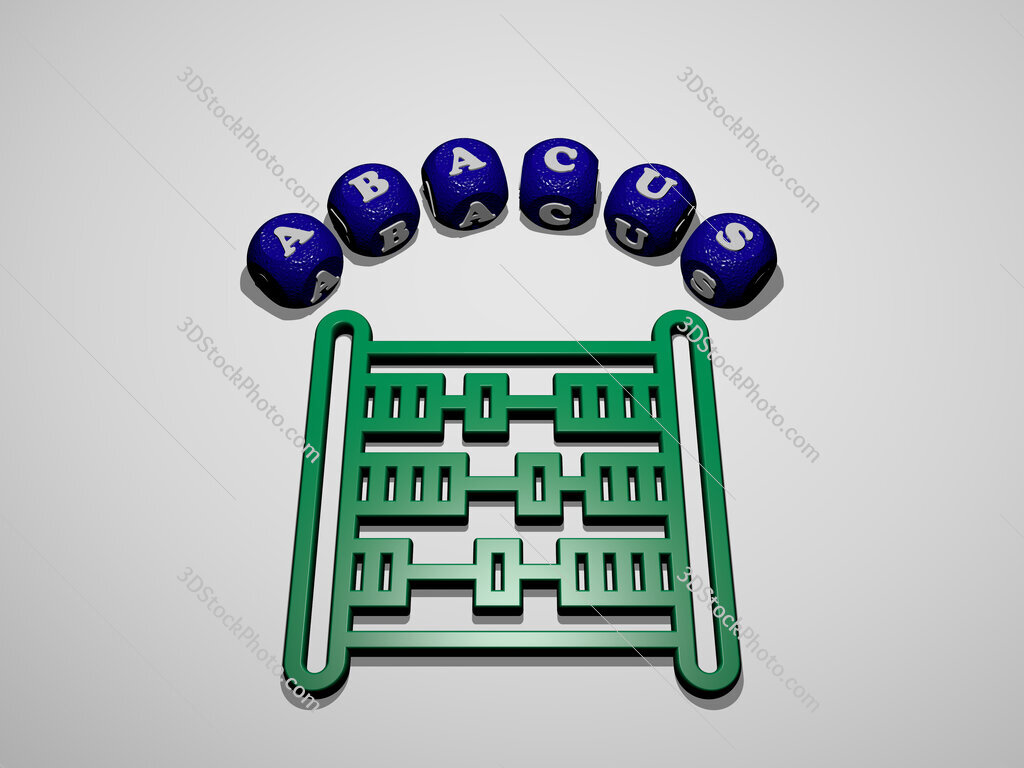abacus icon surrounded by the text of individual letters