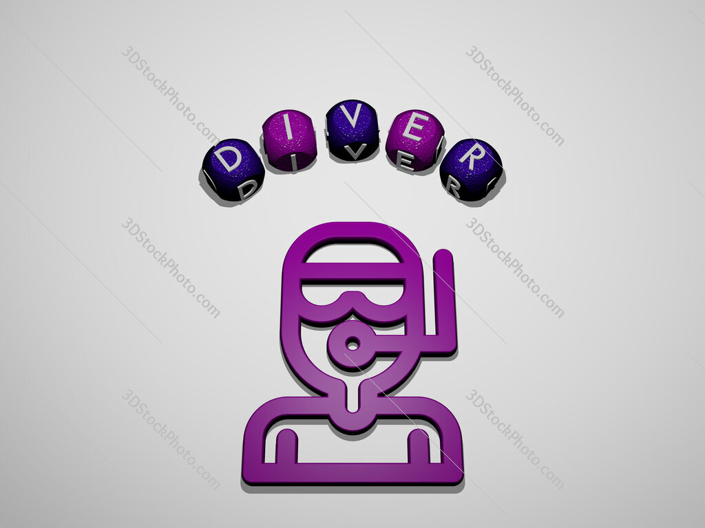 diver icon surrounded by the text of individual letters
