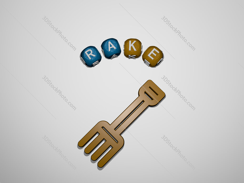 rake icon surrounded by the text of individual letters