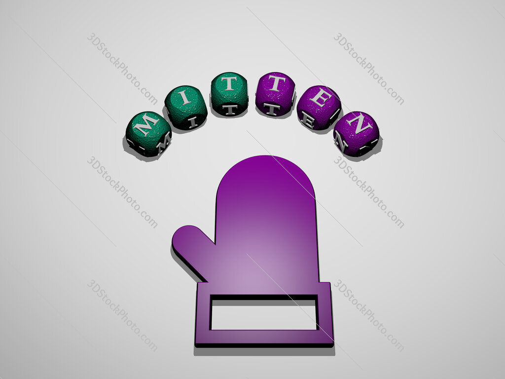 mitten icon surrounded by the text of individual letters