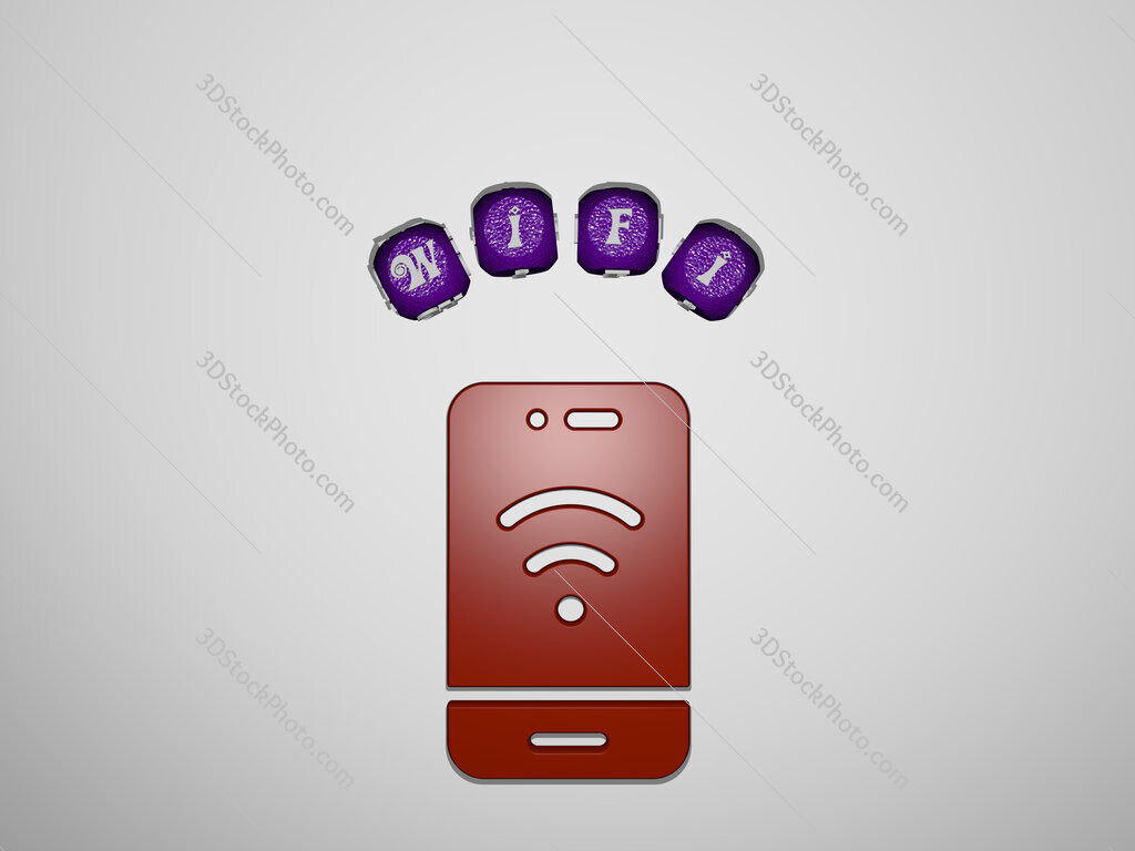 wifi icon surrounded by the text of individual letters