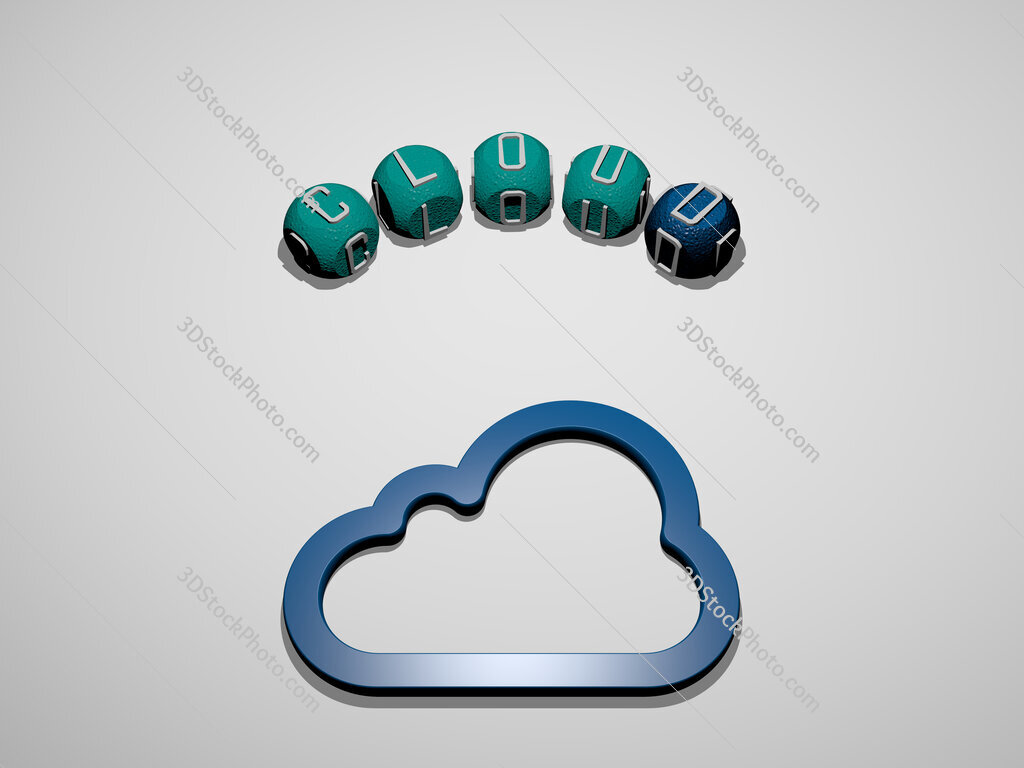 cloud icon surrounded by the text of individual letters
