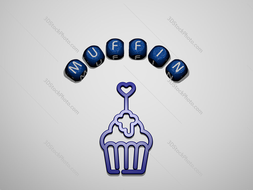 muffin icon surrounded by the text of individual letters