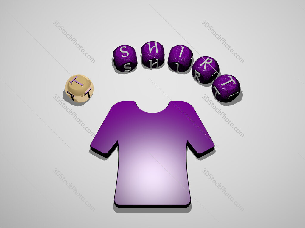 t shirt 3D icon surrounded by the text of cubic letters