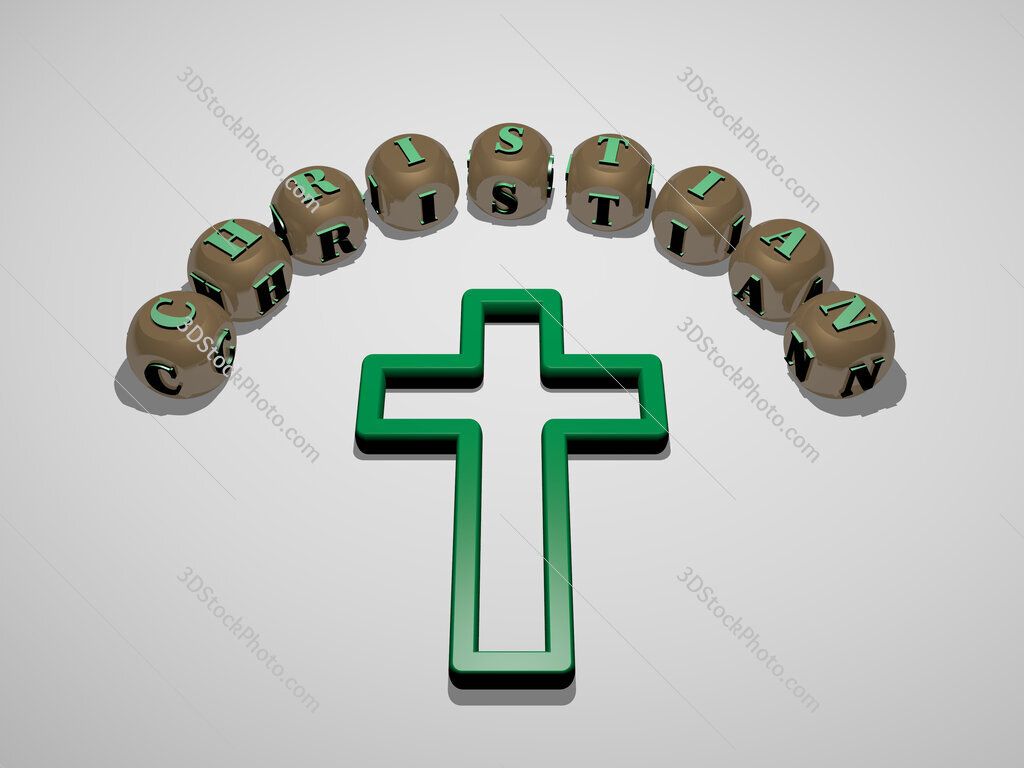 Christian 3D icon surrounded by the text of cubic letters