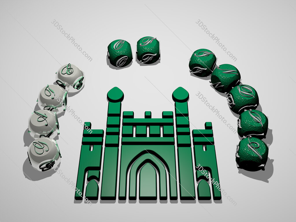 gate of india 3D icon surrounded by the text of cubic letters