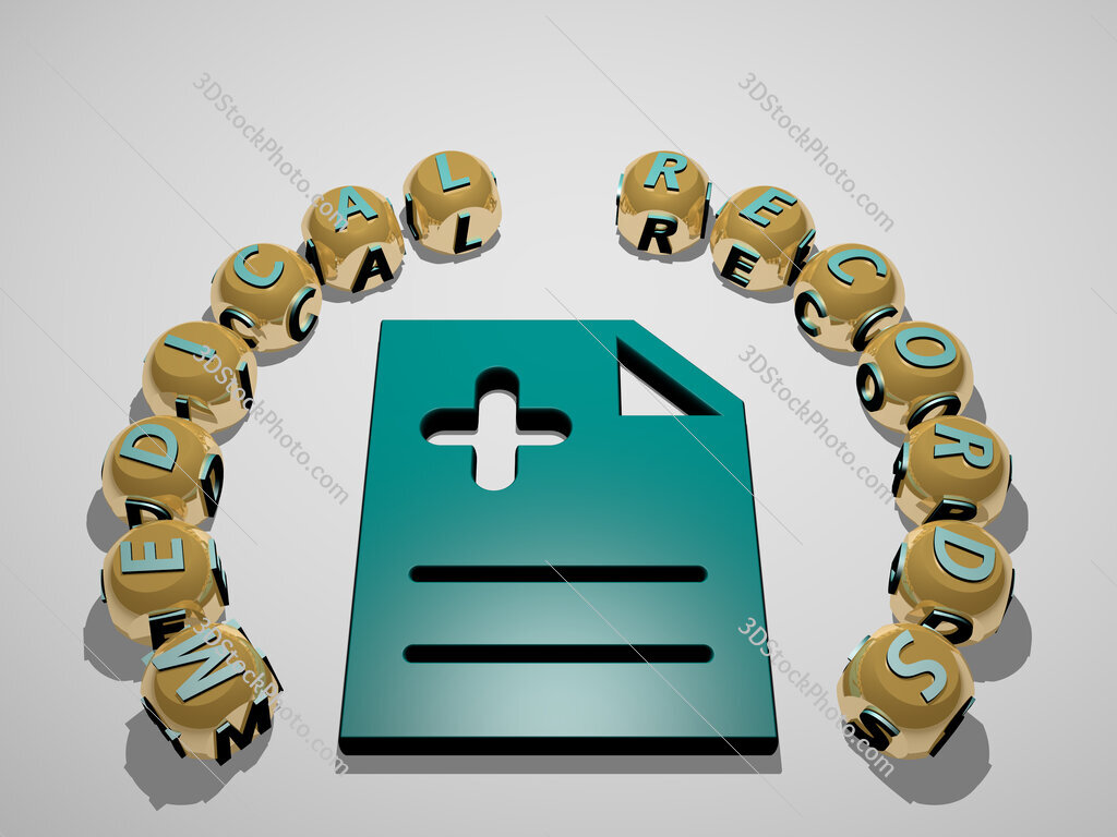 medical records 3D icon surrounded by the text of cubic letters