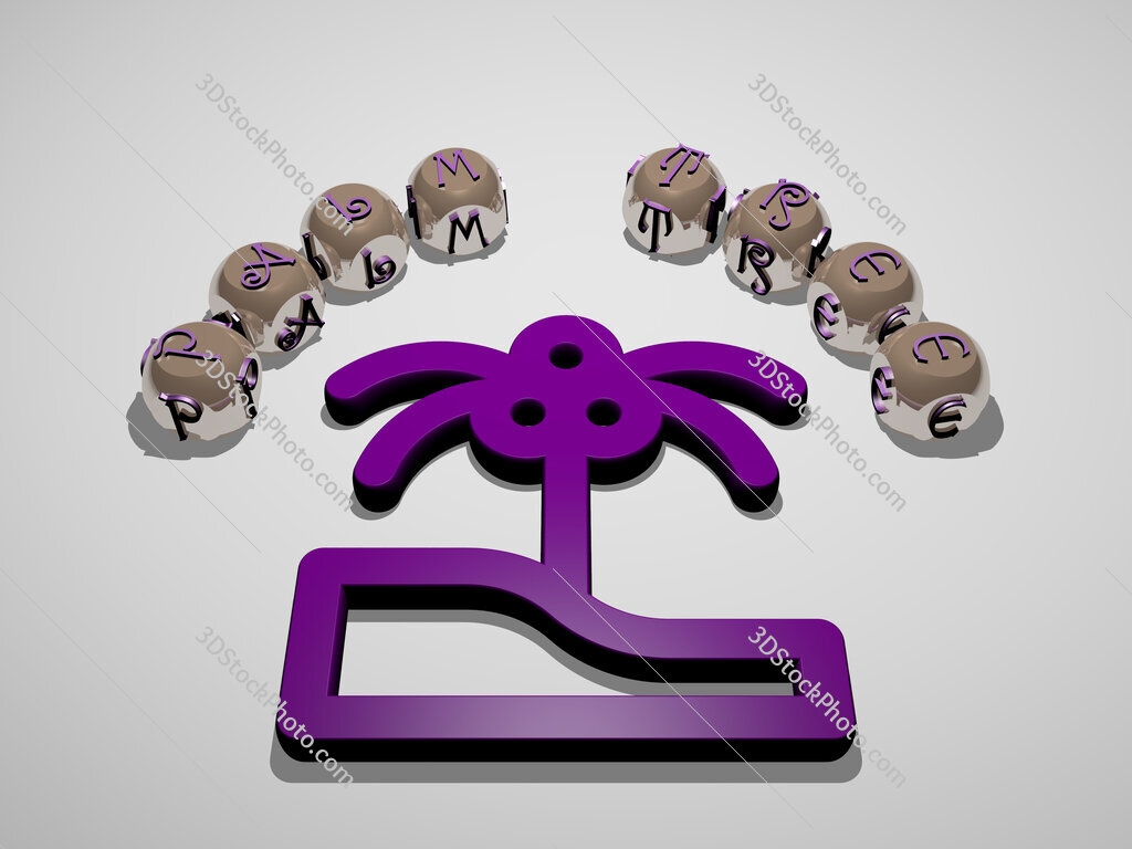 palm tree 3D icon surrounded by the text of cubic letters