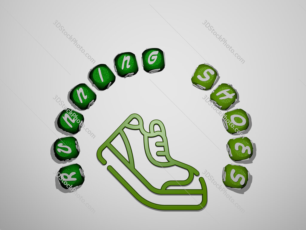 running shoes icon surrounded by the text of individual letters