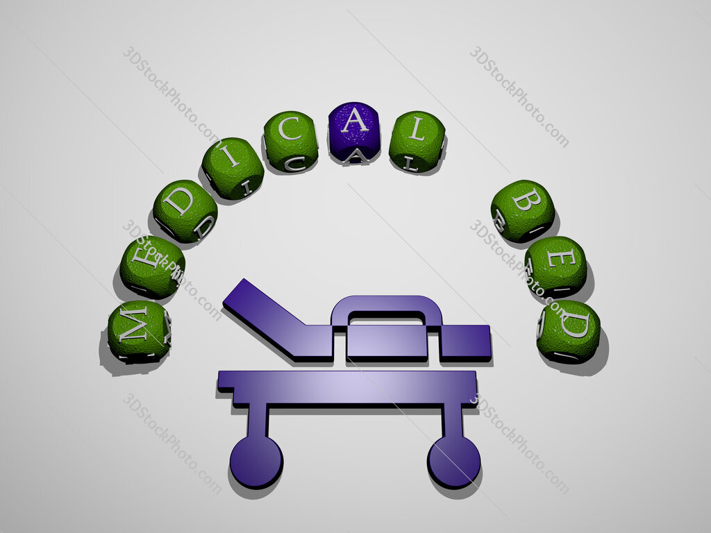 medical bed icon surrounded by the text of individual letters