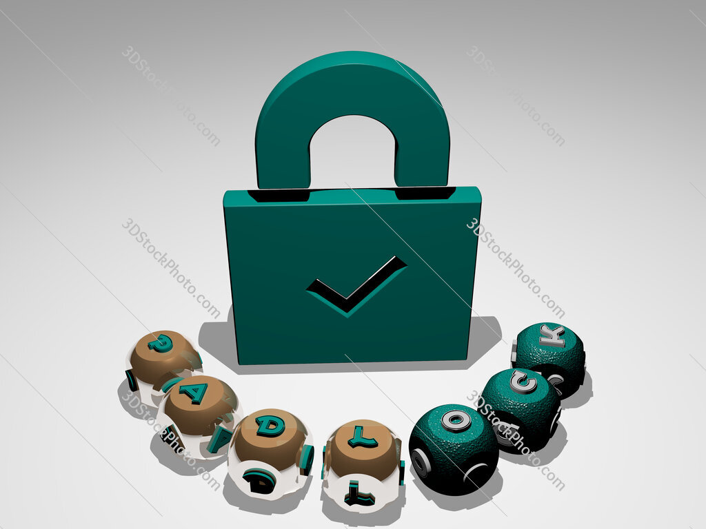 padlock round text of cubic letters around 3D icon