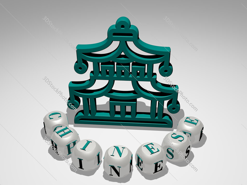 chinese round text of cubic letters around 3D icon