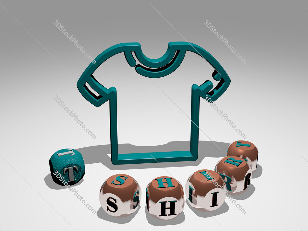 t shirt round text of cubic letters around 3D icon