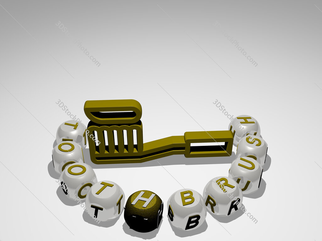 toothbrush round text of cubic letters around 3D icon
