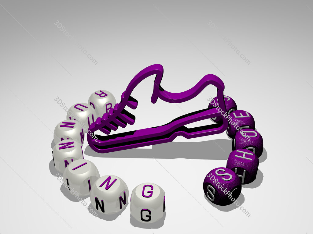 running shoes round text of cubic letters around 3D icon