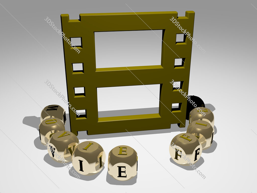 movie film round text of cubic letters around 3D icon
