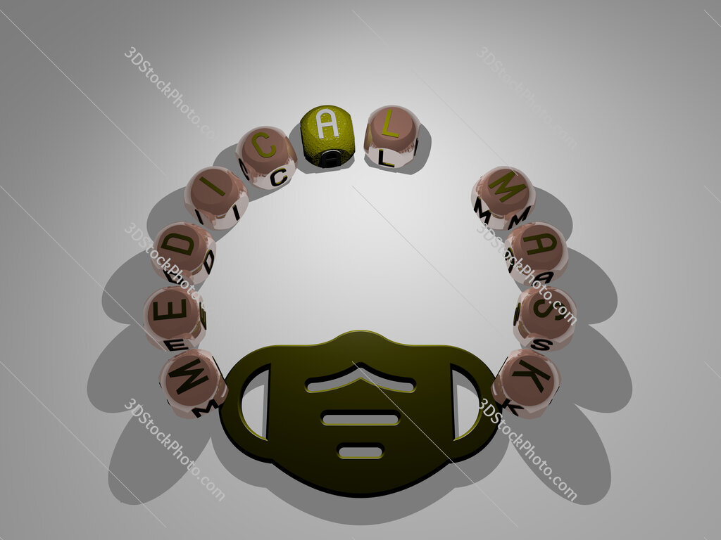 medical mask circular text of separate letters around the 3D icon