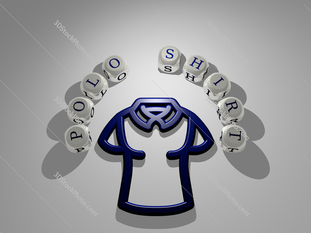 polo shirt circular text of separate letters around the 3D icon