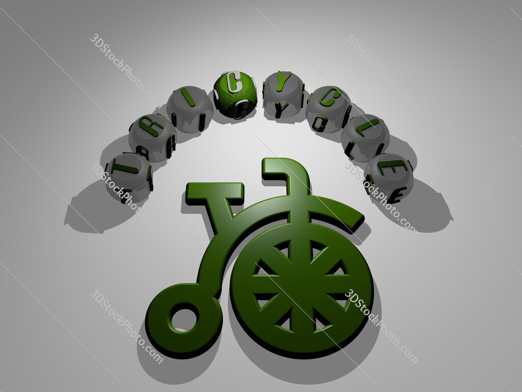 tricycle circular text of separate letters around the 3D icon