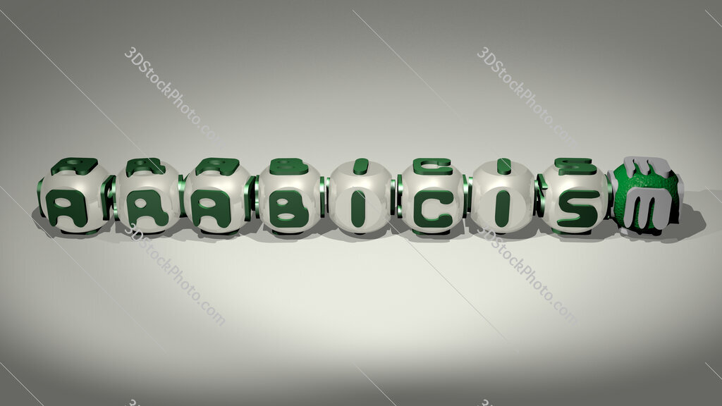Arabicism text of cubic individual letters