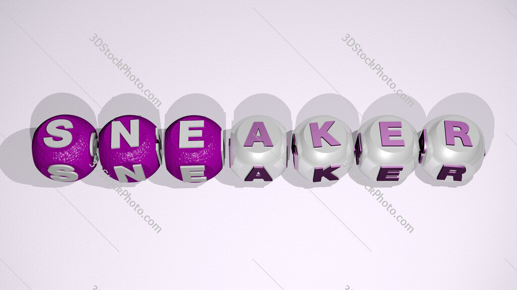 sneaker text of cubic individual letters