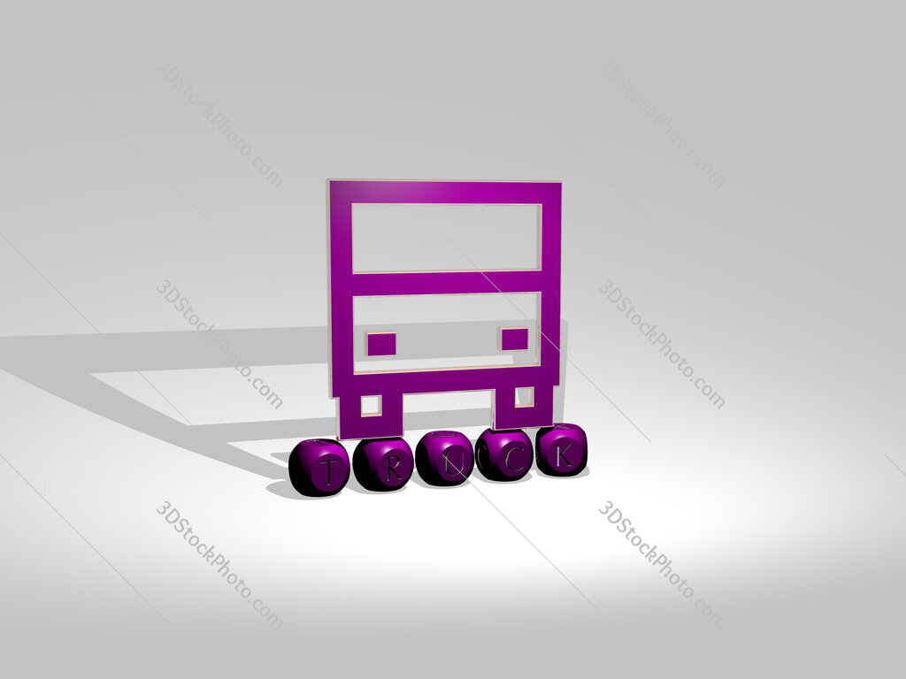truck cubic letters with 3D icon on the top