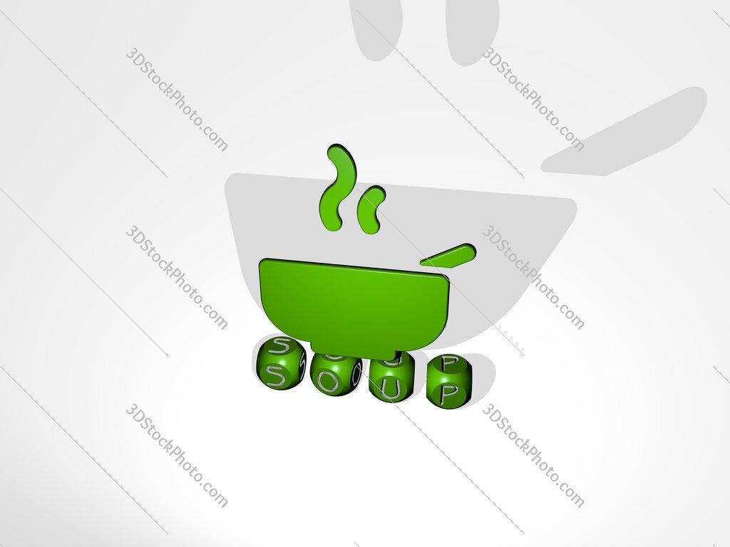 Soup 3D icon over cubic letters