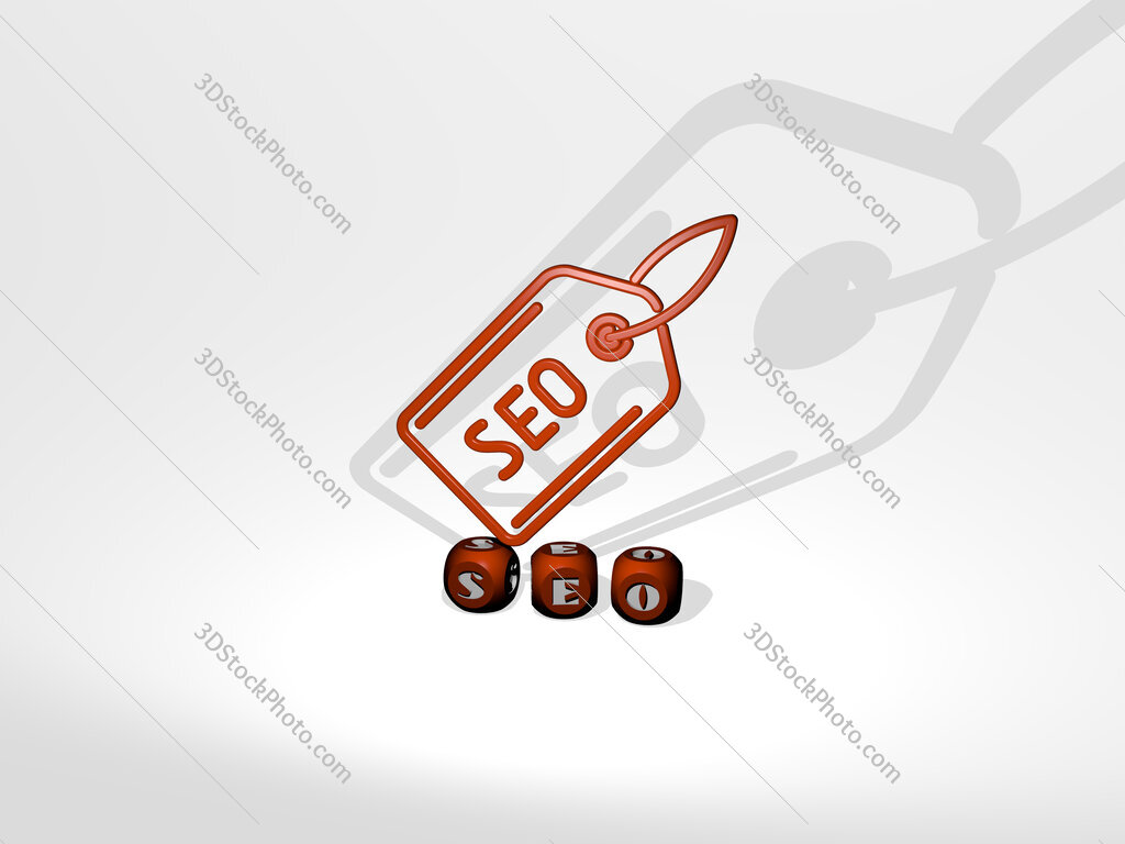 seo 3D icon over cubic letters