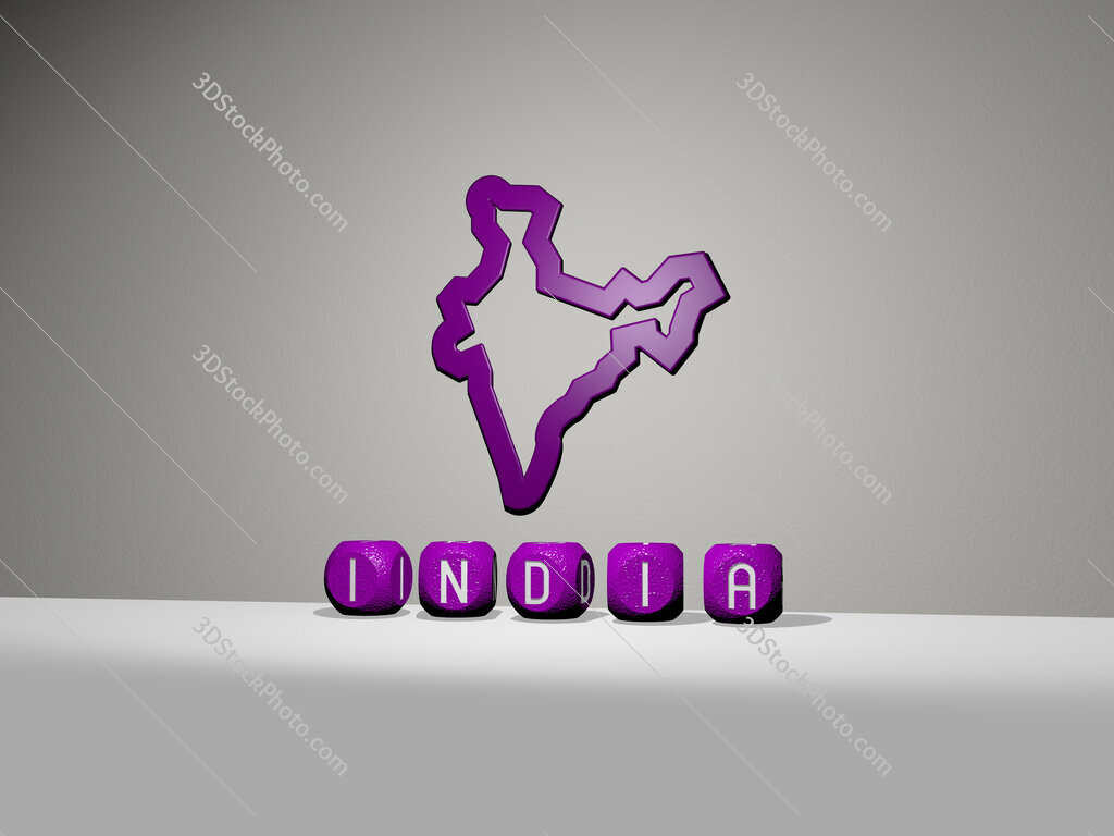 india 3D icon on the wall and text of cubic alphabets on the floor