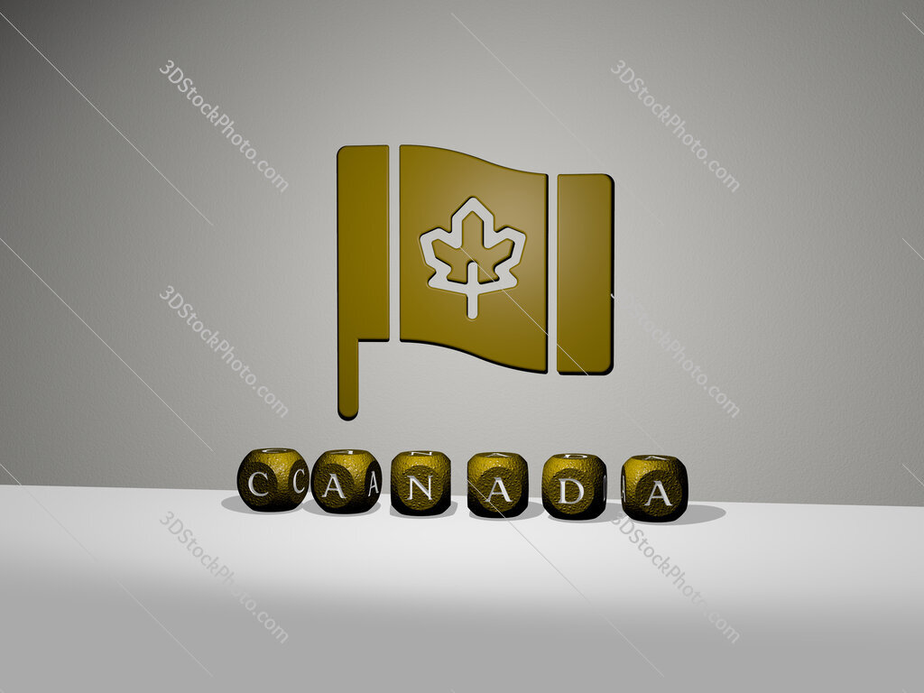 canada 3D icon on the wall and text of cubic alphabets on the floor