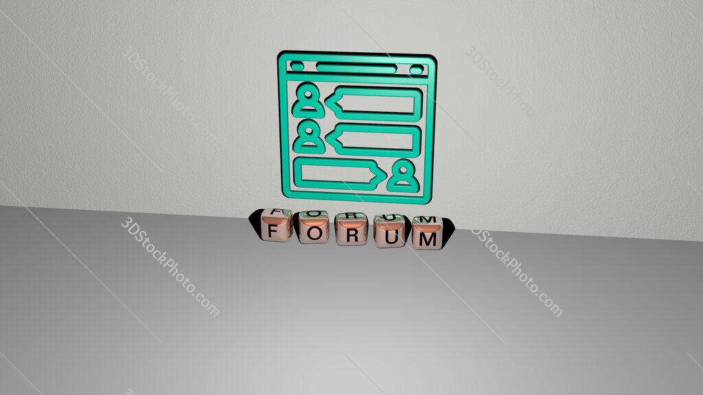 Forum text of cubic dice letters on the floor and 3D icon on the wall