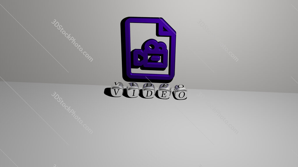 video text of cubic dice letters on the floor and 3D icon on the wall