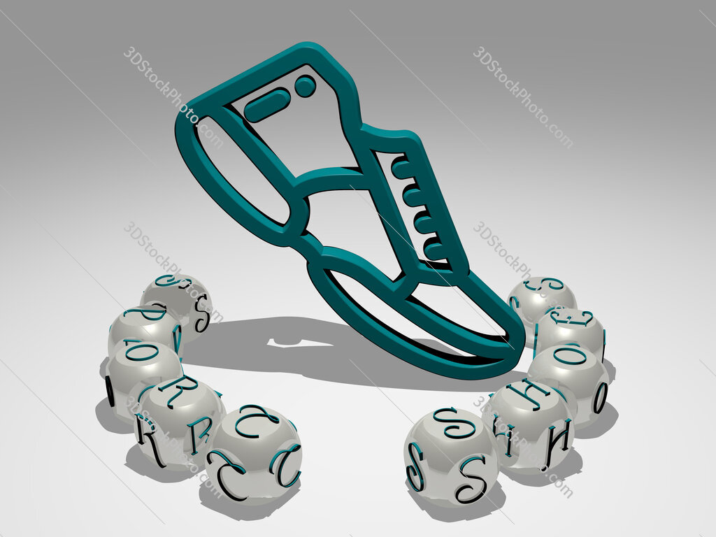 sport shoes round text of cubic letters around 3D icon