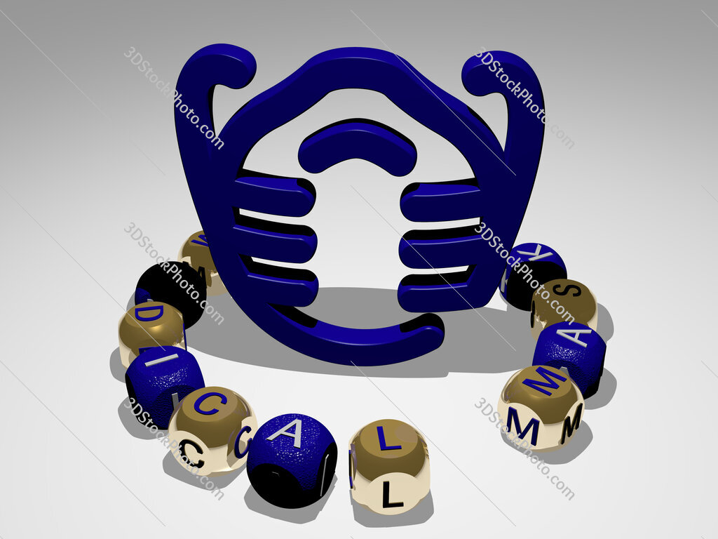 medical mask round text of cubic letters around 3D icon