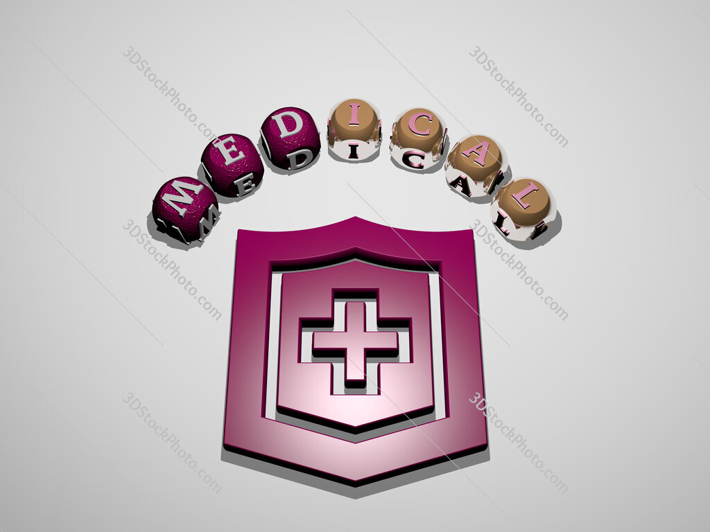 medical 3D icon surrounded by the text of cubic letters
