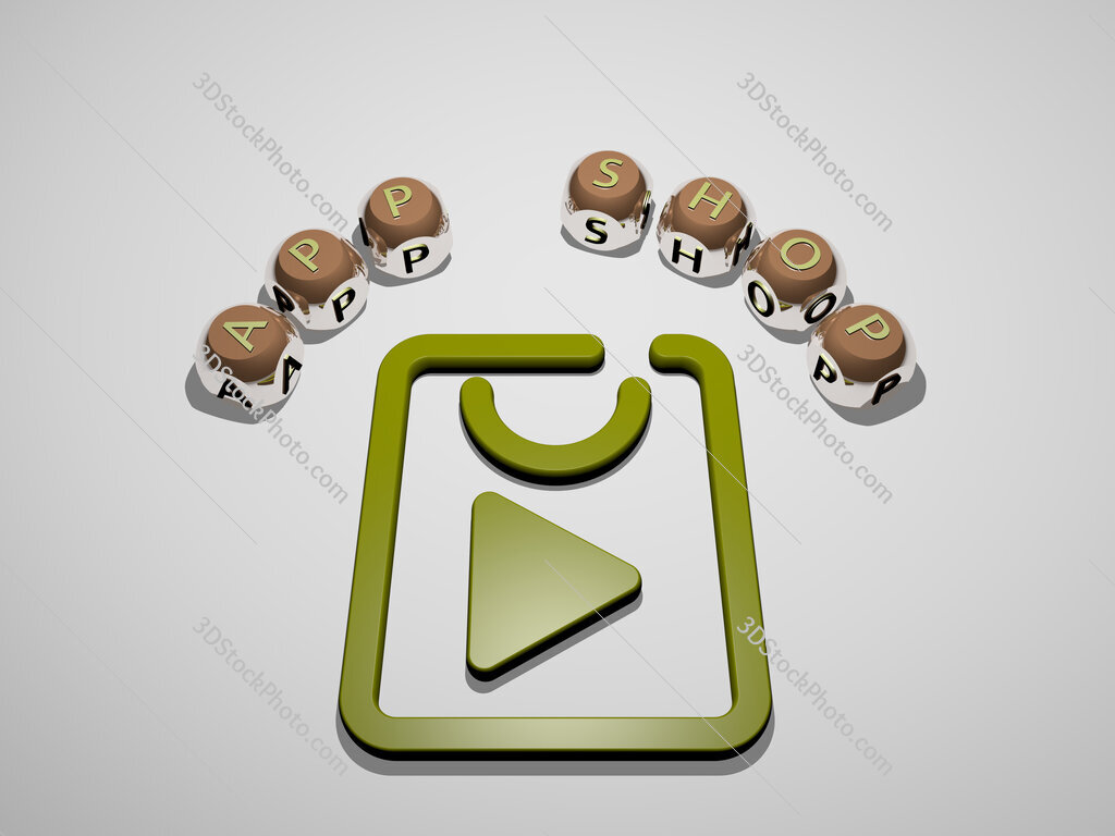 app shop 3D icon surrounded by the text of cubic letters