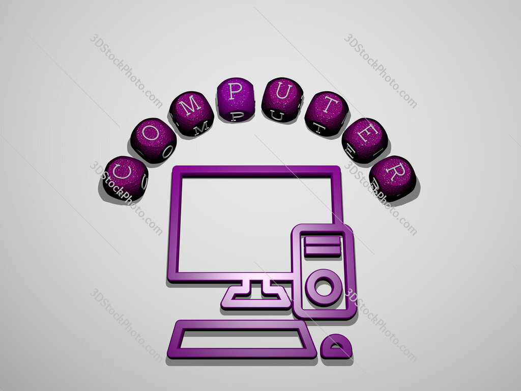 computer icon surrounded by the text of individual letters