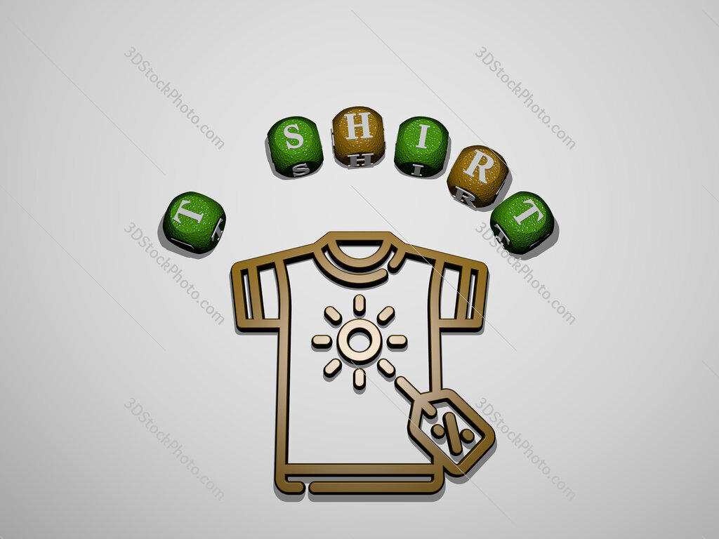 t shirt icon surrounded by the text of individual letters