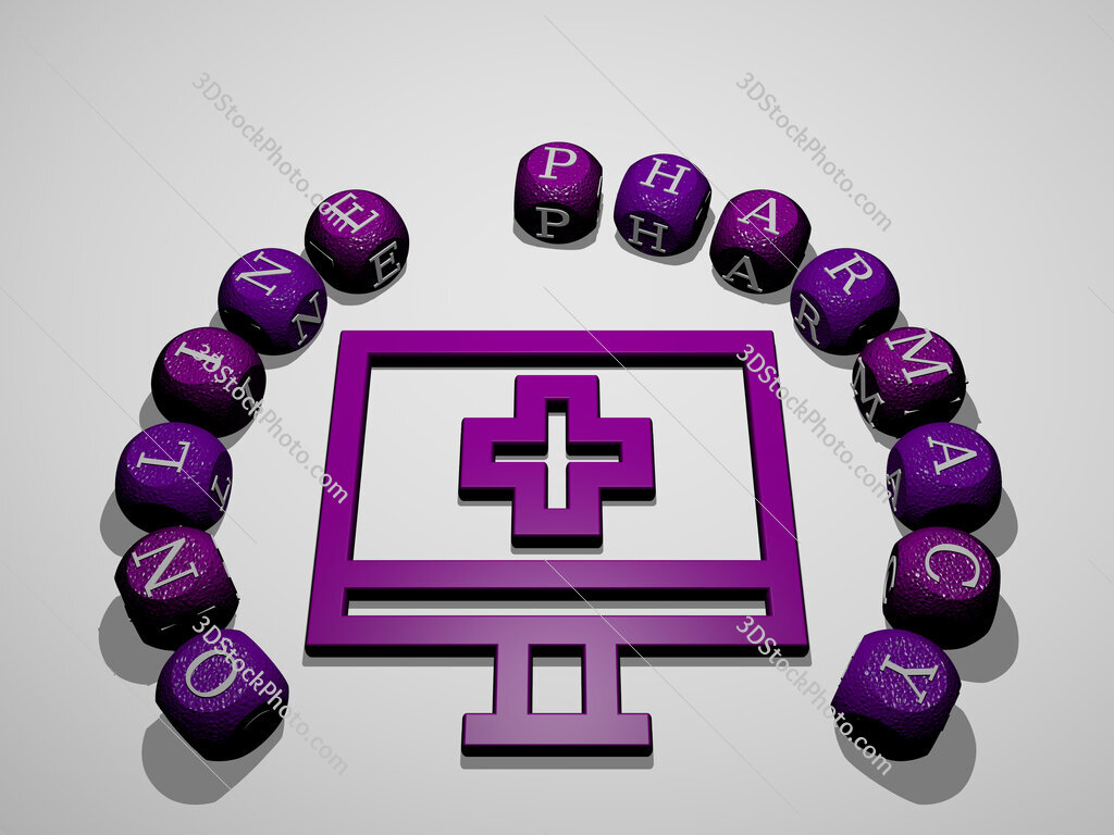 online pharmacy icon surrounded by the text of individual letters