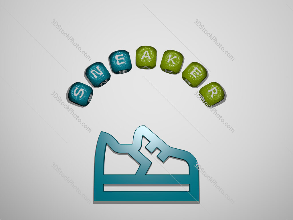 sneaker icon surrounded by the text of individual letters