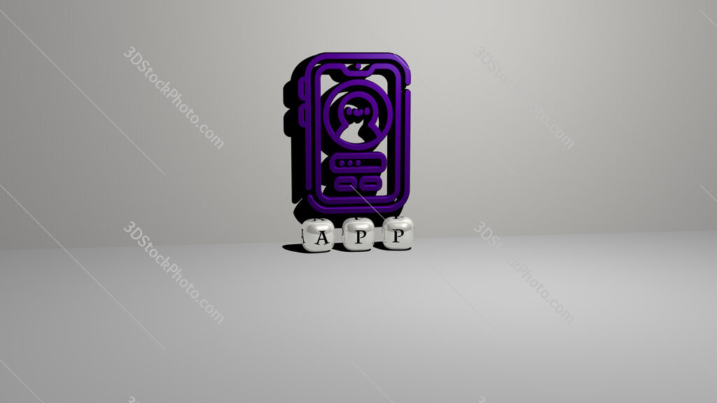 app text of cubic dice letters on the floor and 3D icon on the wall