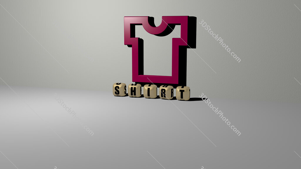 shirt text of cubic dice letters on the floor and 3D icon on the wall