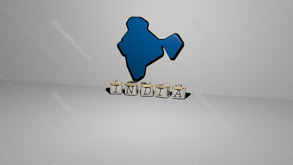 india text of cubic dice letters on the floor and 3D icon on the wall