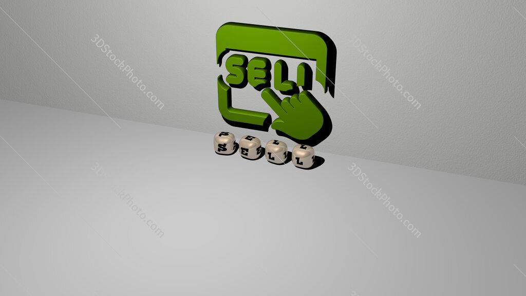 sell text of cubic dice letters on the floor and 3D icon on the wall