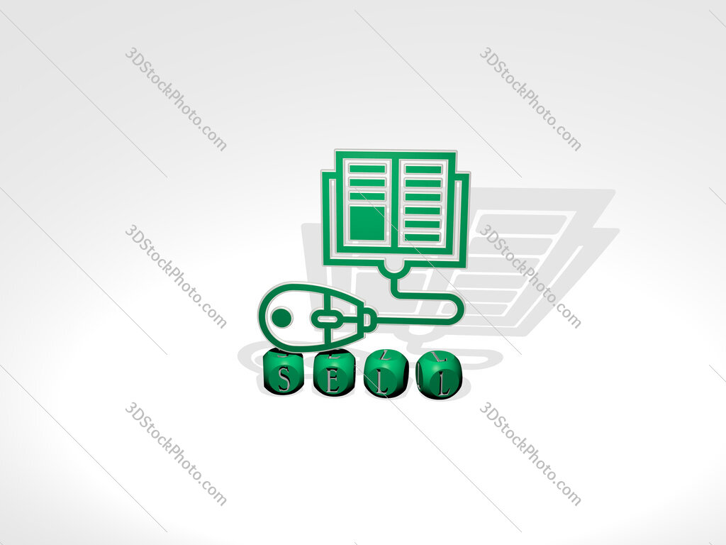 sell cubic letters with 3D icon on the top
